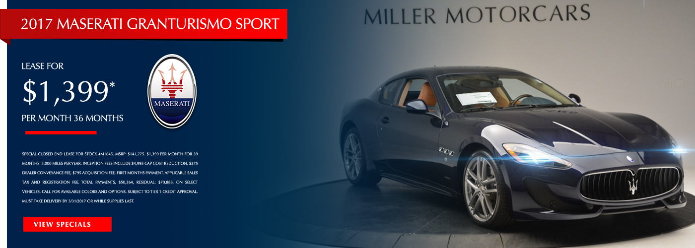 2017 Maserati GranTurismo Sport Lease Special