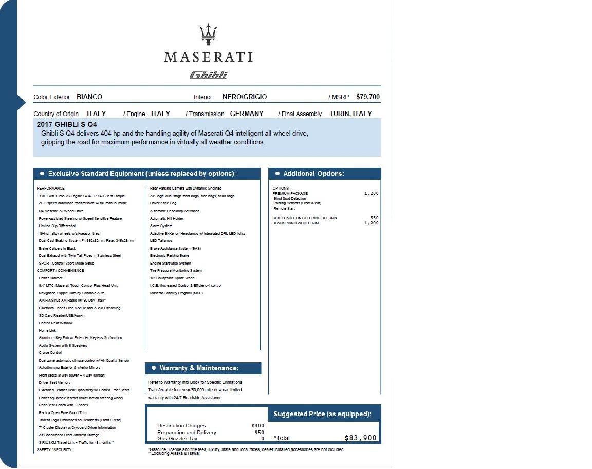 New 2017 Maserati Ghibli S Q4 EX-Loaner For Sale In Greenwich, CT 1031_p26
