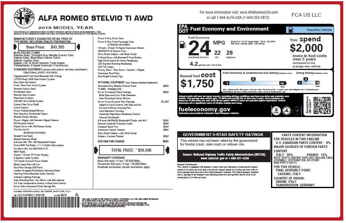New 2018 Alfa Romeo Stelvio Ti Q4 For Sale In Greenwich, CT 1409_p27