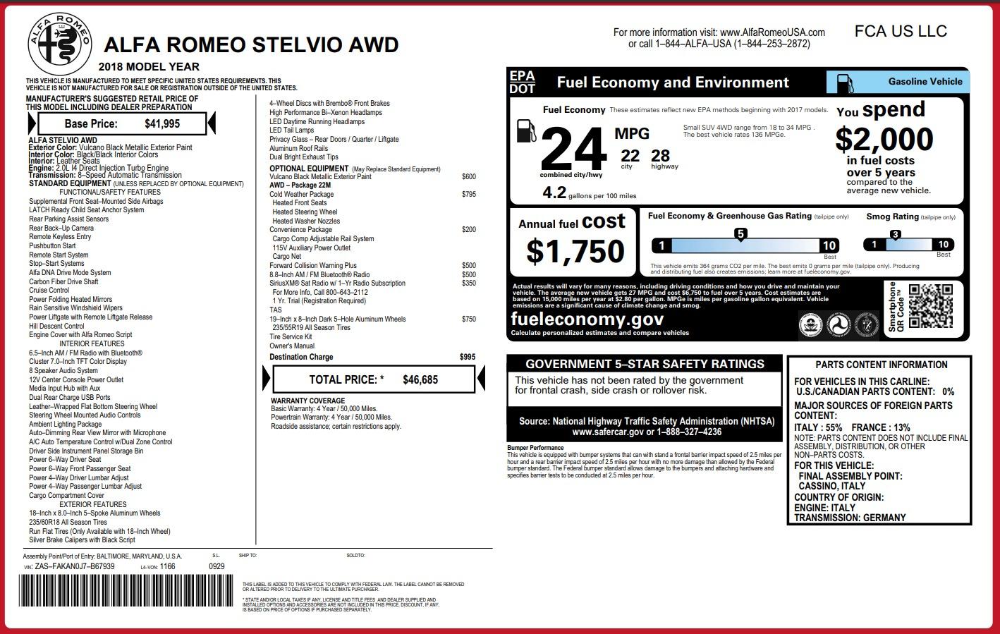 New 2018 Alfa Romeo Stelvio Q4 For Sale In Greenwich, CT 1441_p26