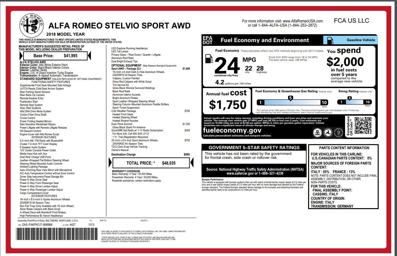 New 2018 Alfa Romeo Stelvio Sport Q4 For Sale In Greenwich, CT 1627_p26