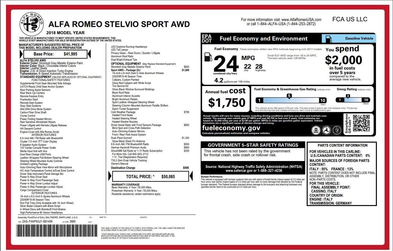 New 2018 Alfa Romeo Stelvio Sport Q4 For Sale In Greenwich, CT 1638_p26