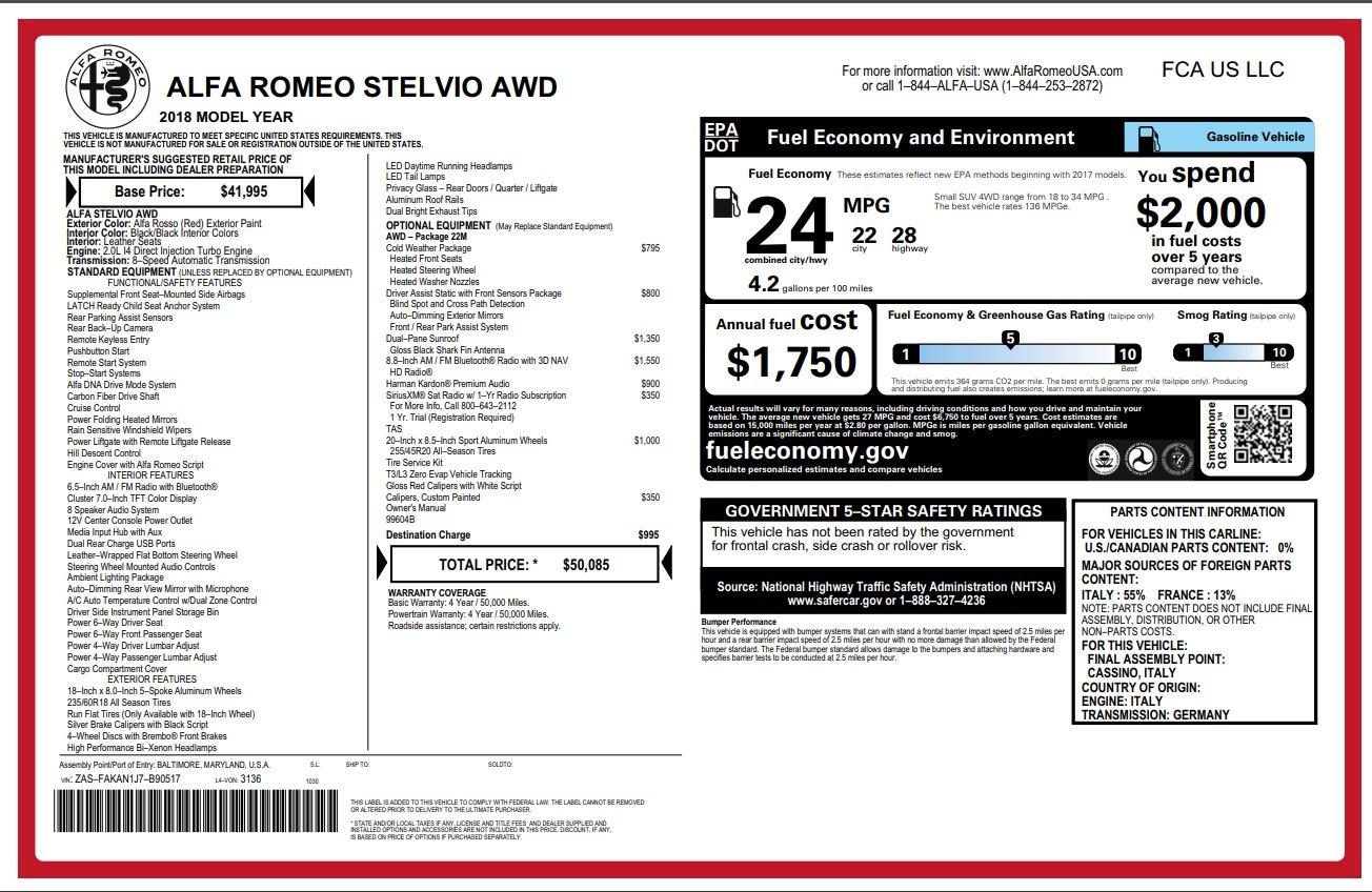 New 2018 Alfa Romeo Stelvio Q4 For Sale In Greenwich, CT 1726_p26