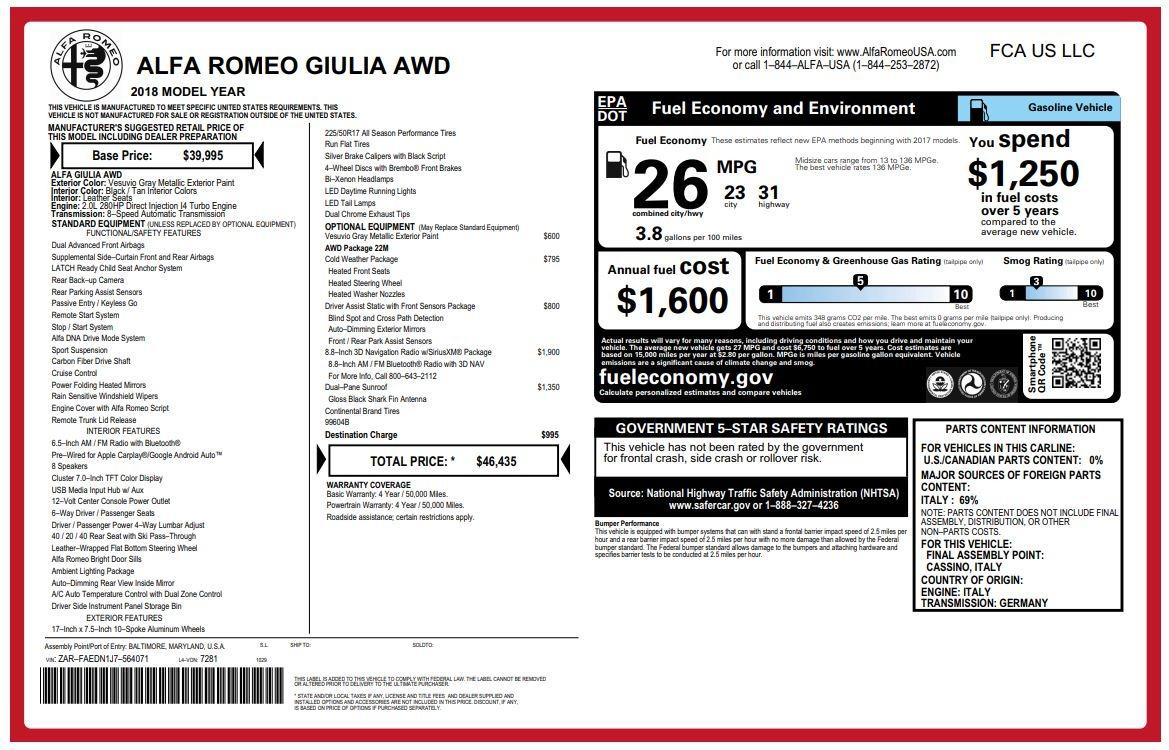 New 2018 Alfa Romeo Giulia Q4 For Sale In Greenwich, CT 1737_p26