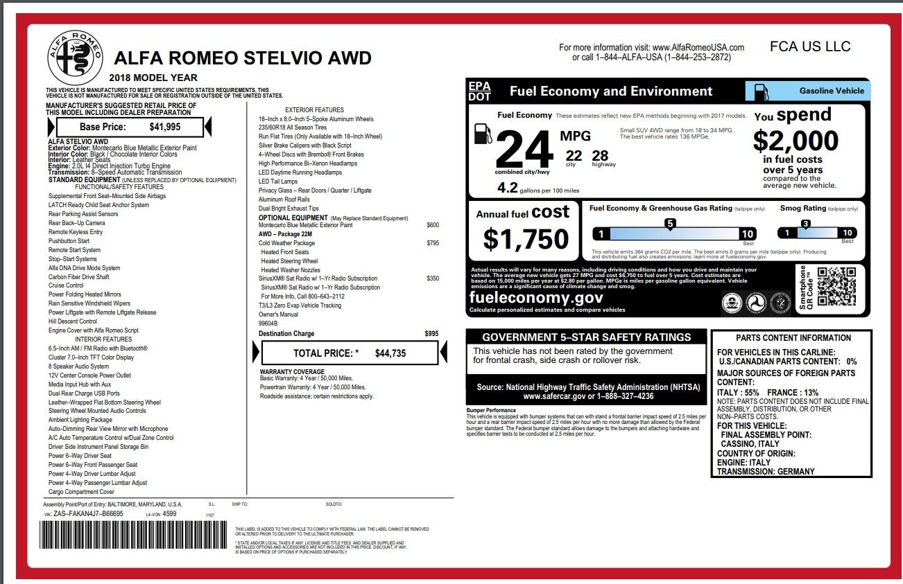 New 2018 Alfa Romeo Stelvio Q4 For Sale In Greenwich, CT 1780_p26