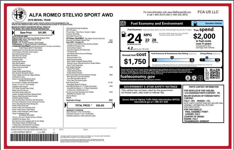 New 2018 Alfa Romeo Stelvio Sport Q4 For Sale In Greenwich, CT 1836_p26