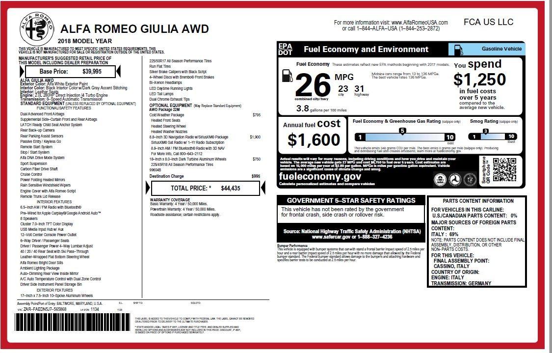 New 2018 Alfa Romeo Giulia Q4 For Sale In Greenwich, CT 1848_p26