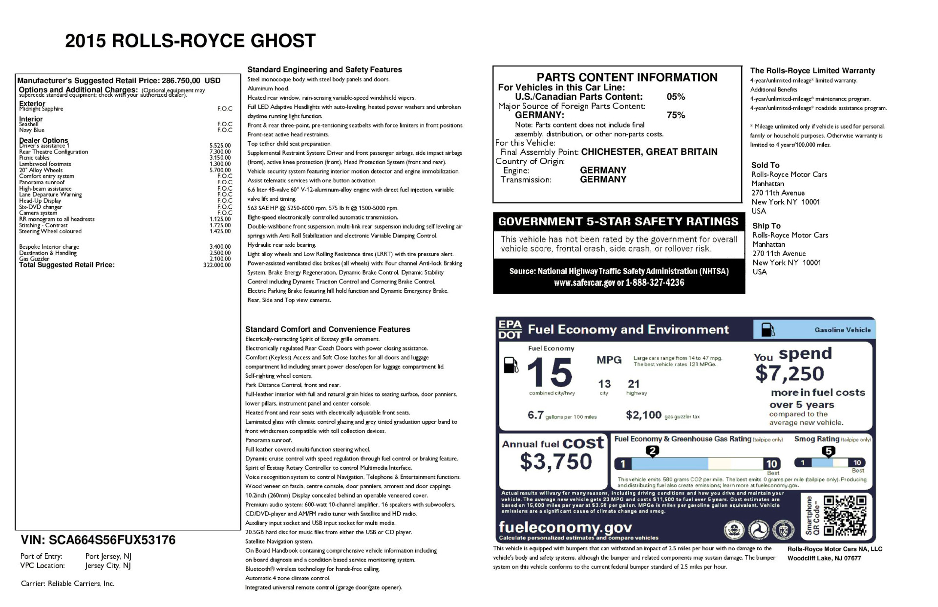 Used 2015 Rolls-Royce Ghost  For Sale In Greenwich, CT 1980_p32