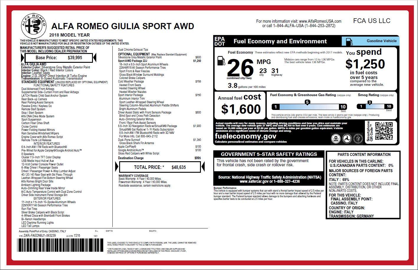 New 2018 Alfa Romeo Giulia Ti Sport Q4 For Sale In Greenwich, CT 2003_p26