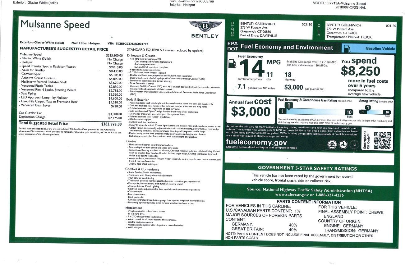New 2018 Bentley Mulsanne Speed For Sale In Greenwich, CT 2075_p32