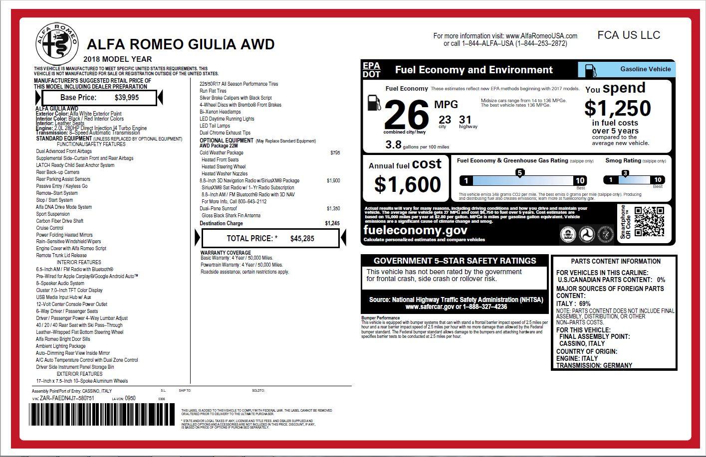 New 2018 Alfa Romeo Giulia Q4 For Sale In Greenwich, CT 2142_p26