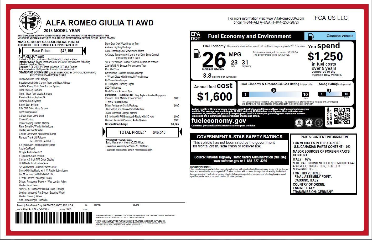 New 2018 Alfa Romeo Giulia Ti Q4 For Sale In Greenwich, CT 2174_p26