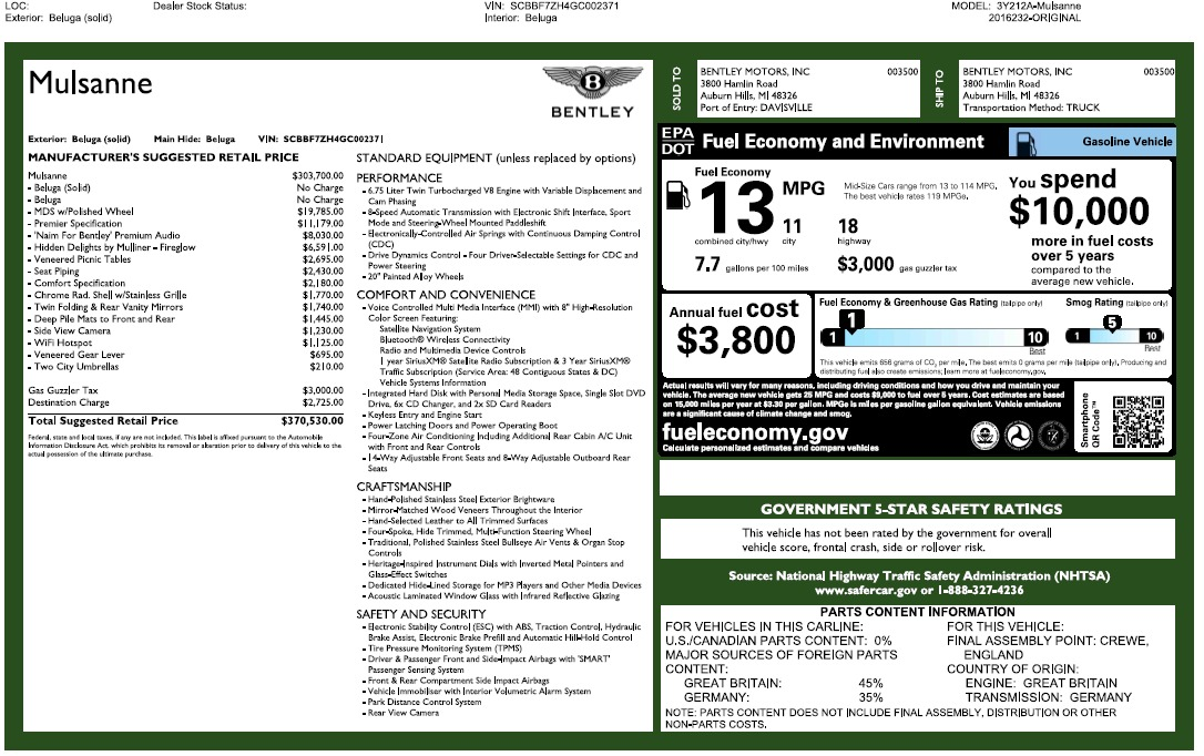 Used 2016 Bentley Mulsanne  For Sale In Greenwich, CT 2189_p26