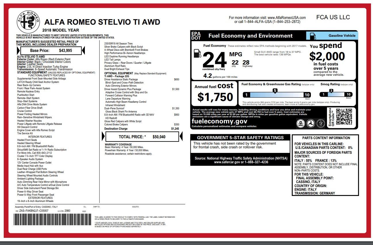New 2018 Alfa Romeo Stelvio Ti Q4 For Sale In Greenwich, CT 2201_p26