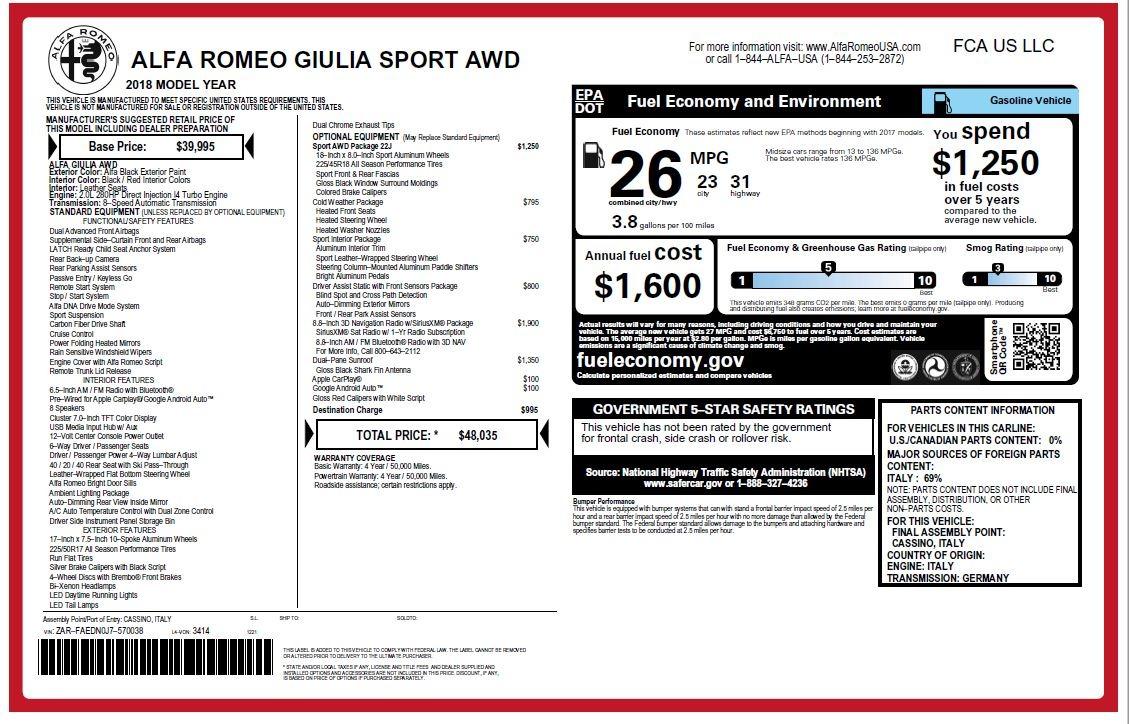 New 2018 Alfa Romeo Giulia Sport Q4 For Sale In Greenwich, CT 2205_p20
