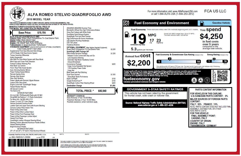 New 2018 Alfa Romeo Stelvio Quadrifoglio For Sale In Greenwich, CT 2251_p26