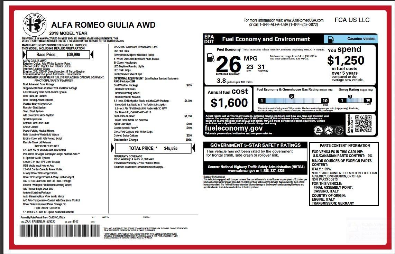 New 2018 Alfa Romeo Giulia  For Sale In Greenwich, CT 2314_p2