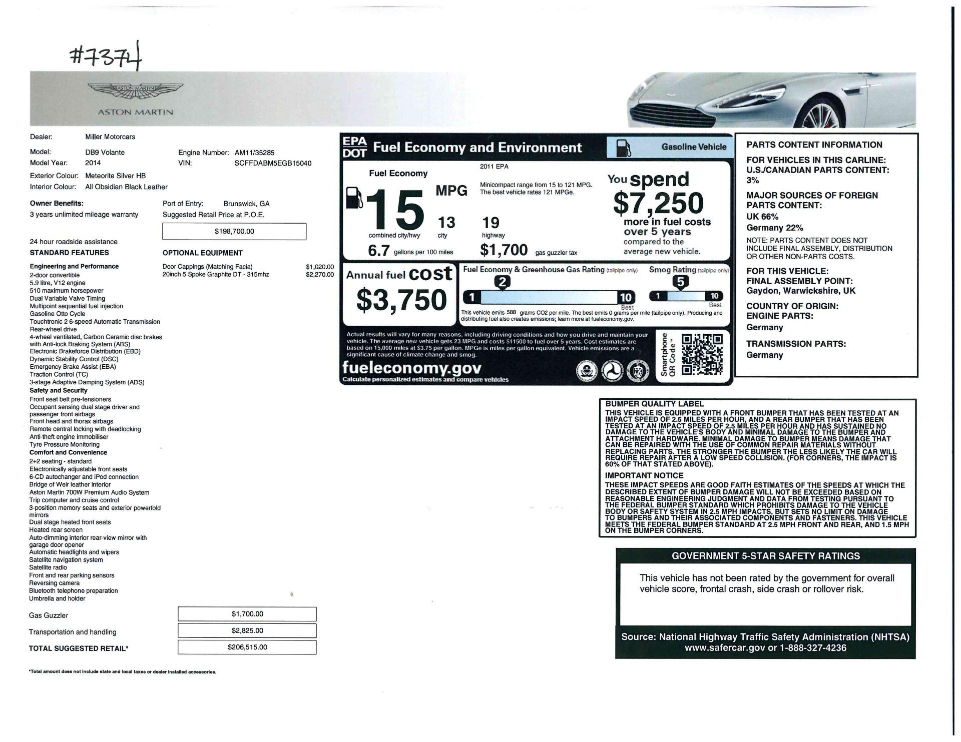 Used 2014 Aston Martin DB9 Volante For Sale In Greenwich, CT 2319_p32