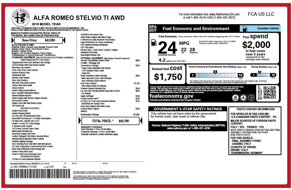 New 2018 Alfa Romeo Stelvio Ti Q4 For Sale In Greenwich, CT 2320_p26