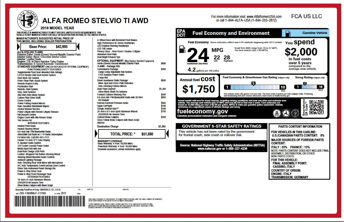 New 2018 Alfa Romeo Stelvio Ti Q4 For Sale In Greenwich, CT 2321_p2