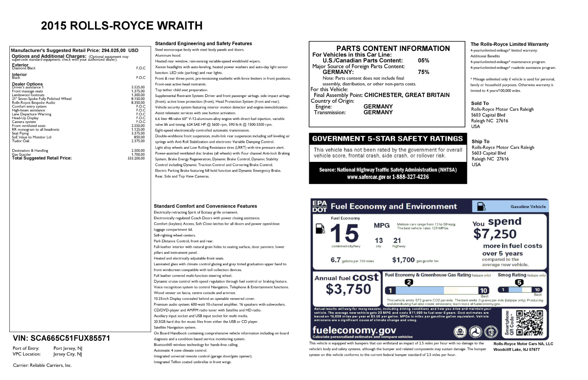 Used 2015 Rolls-Royce Wraith  For Sale In Greenwich, CT 2335_p24