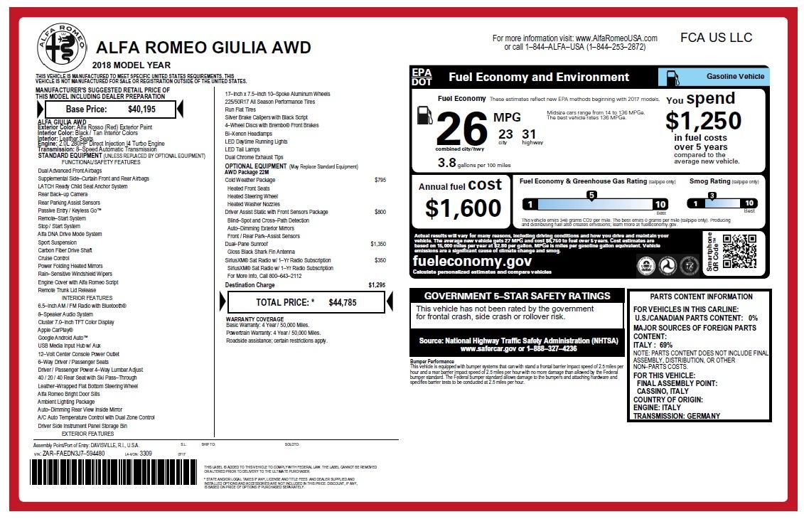 New 2018 Alfa Romeo Giulia Q4 For Sale In Greenwich, CT 2454_p2