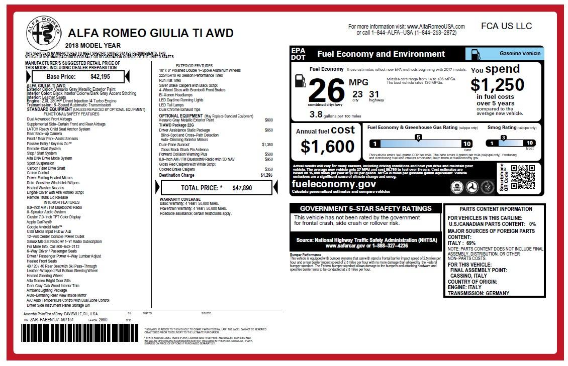 New 2018 Alfa Romeo Giulia Ti Q4 For Sale In Greenwich, CT 2469_main
