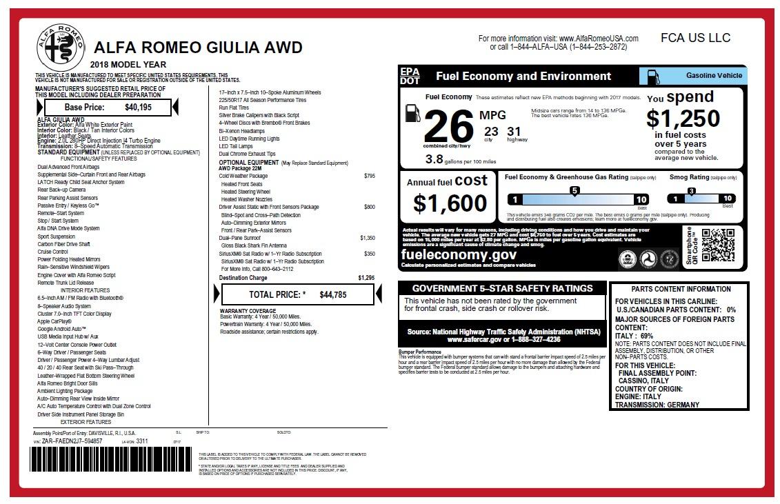New 2018 Alfa Romeo Giulia Q4 For Sale In Greenwich, CT 2475_p26