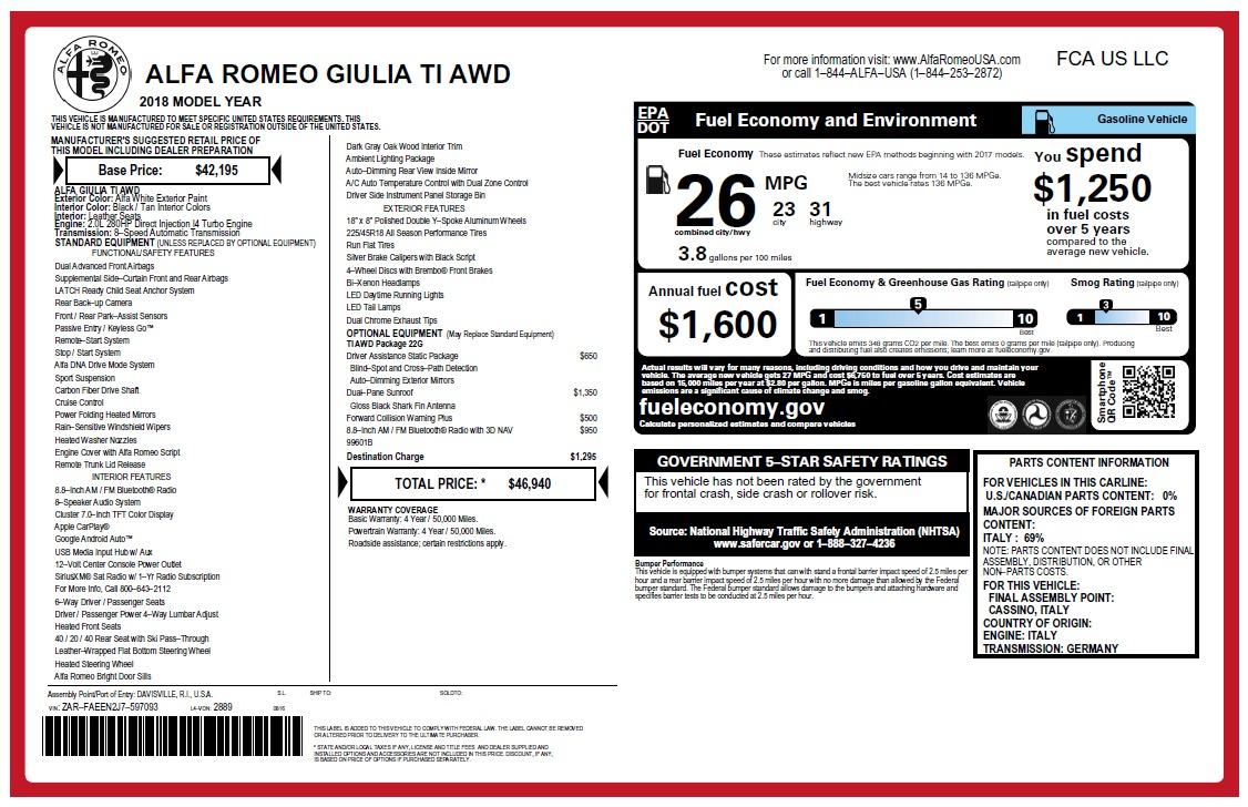 New 2018 Alfa Romeo Giulia Ti Q4 For Sale In Greenwich, CT 2483_p2