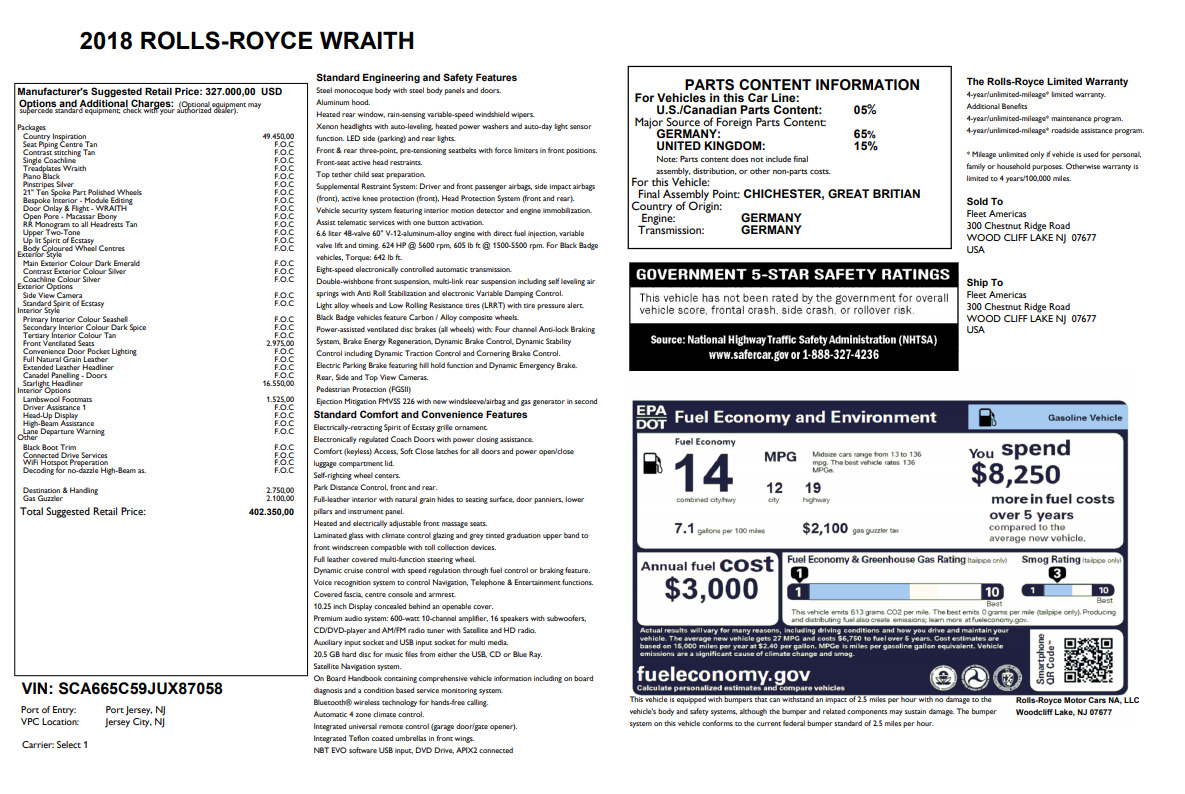 Used 2018 Rolls-Royce Wraith  For Sale In Greenwich, CT 2492_p7