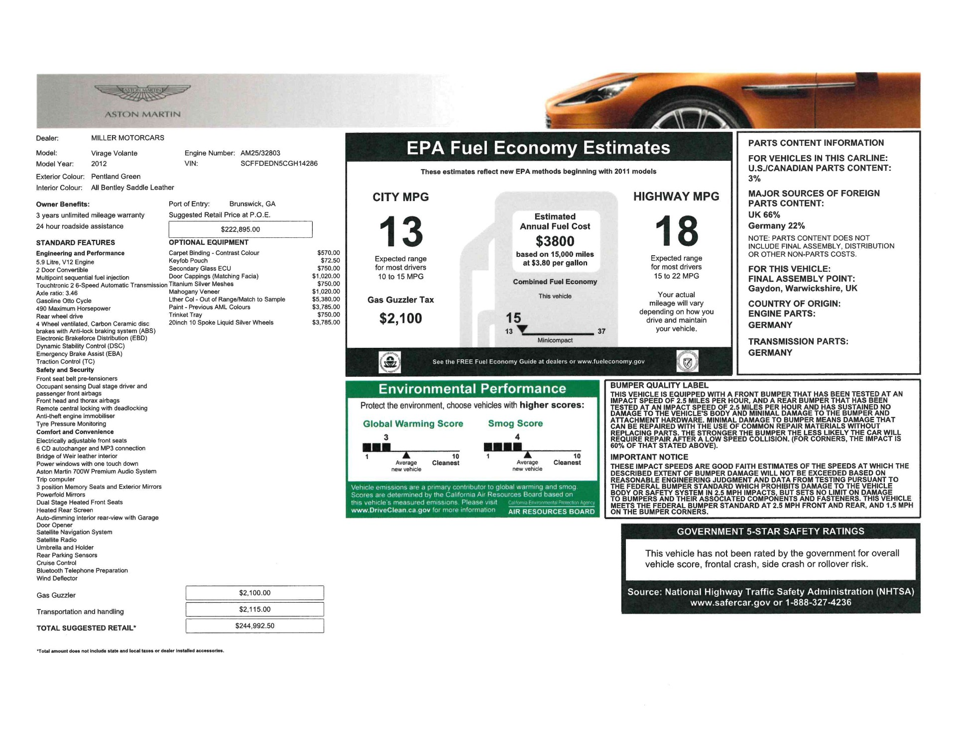 Used 2012 Aston Martin Virage Volante For Sale In Greenwich, CT 2508_p27