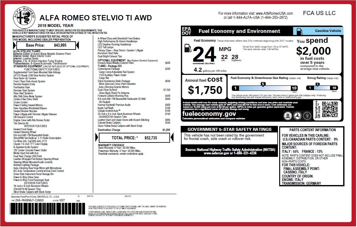 New 2018 Alfa Romeo Stelvio Ti Q4 For Sale In Greenwich, CT 2632_p2