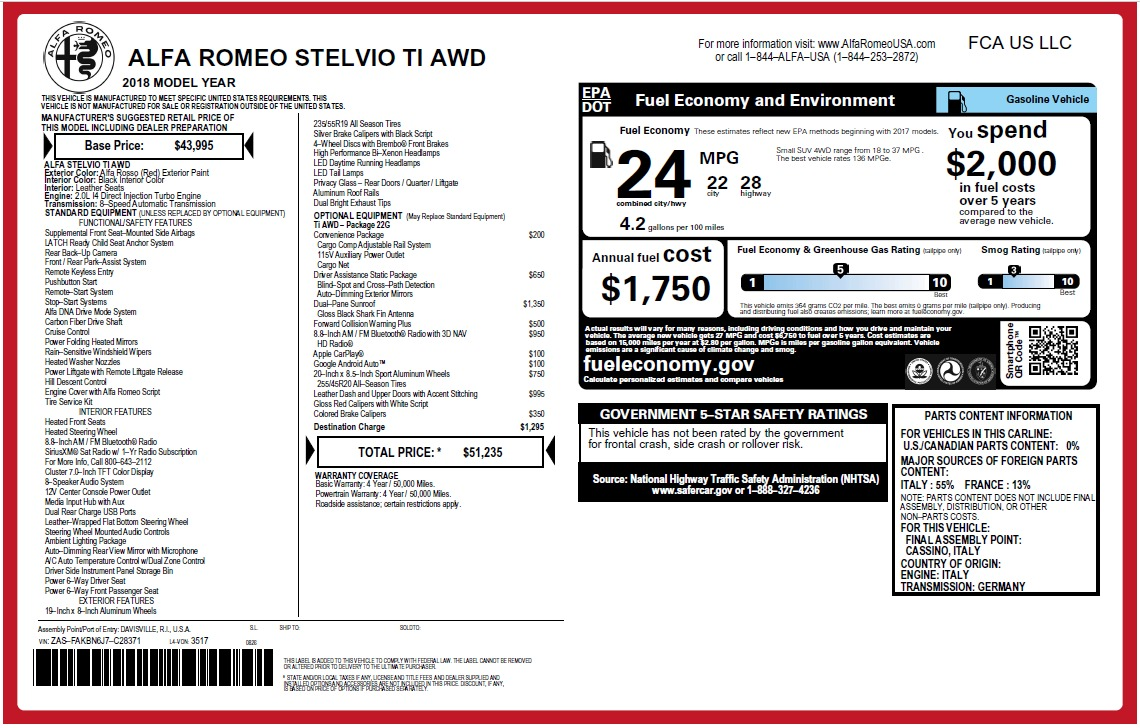 New 2018 Alfa Romeo Stelvio Ti Q4 For Sale In Greenwich, CT 2634_p2