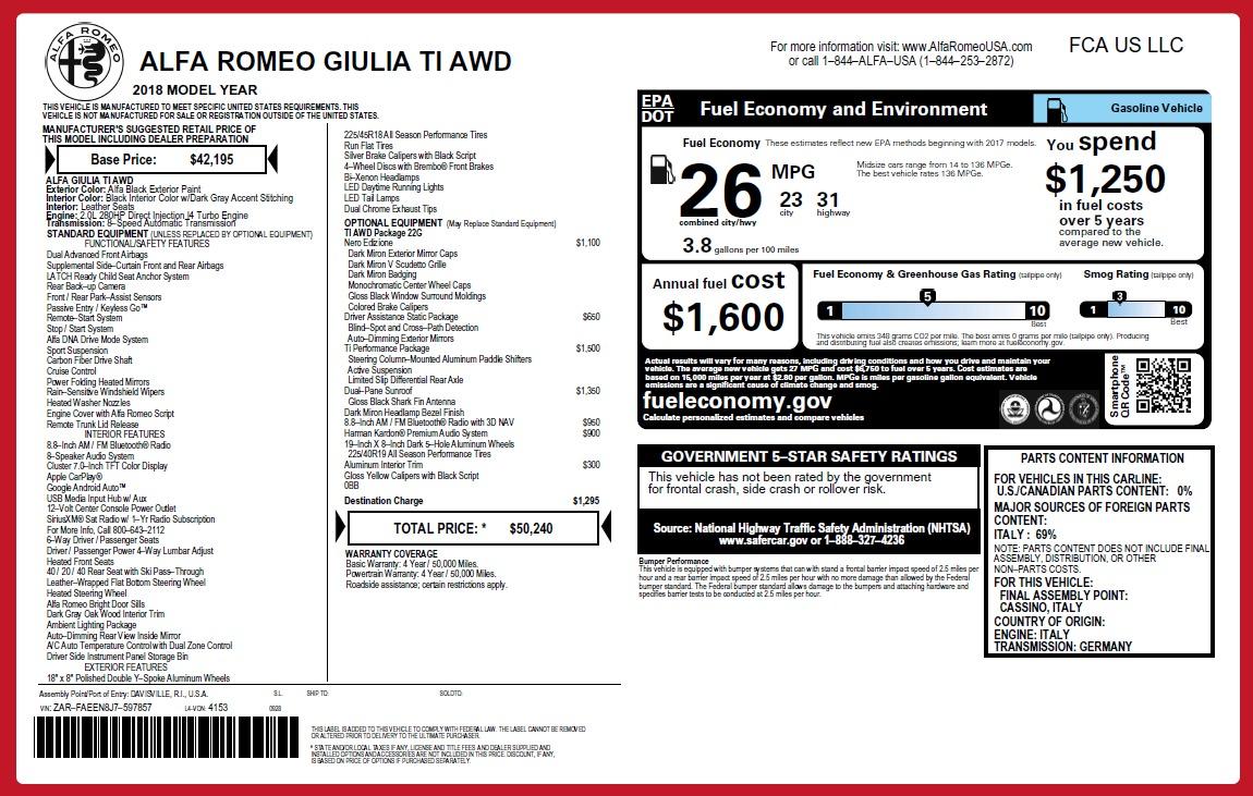 New 2018 Alfa Romeo Giulia Ti Q4 For Sale In Greenwich, CT 2648_p2