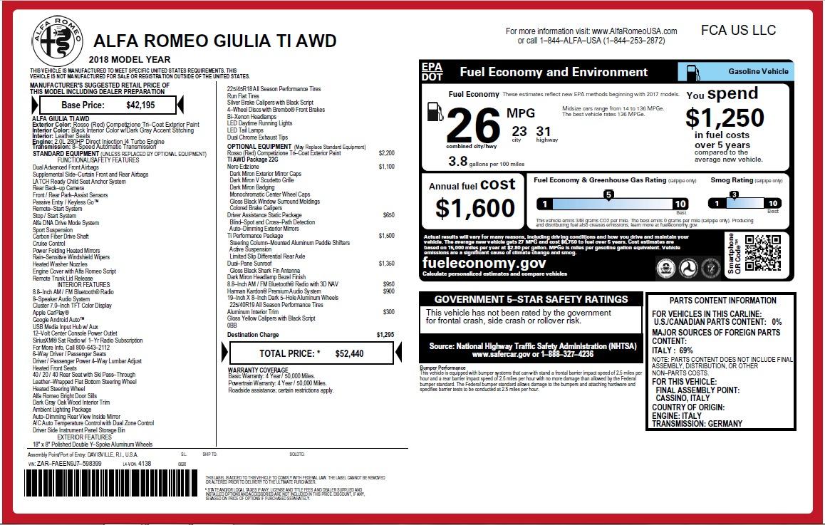 New 2018 Alfa Romeo Giulia Ti Q4 For Sale In Greenwich, CT 2649_p26