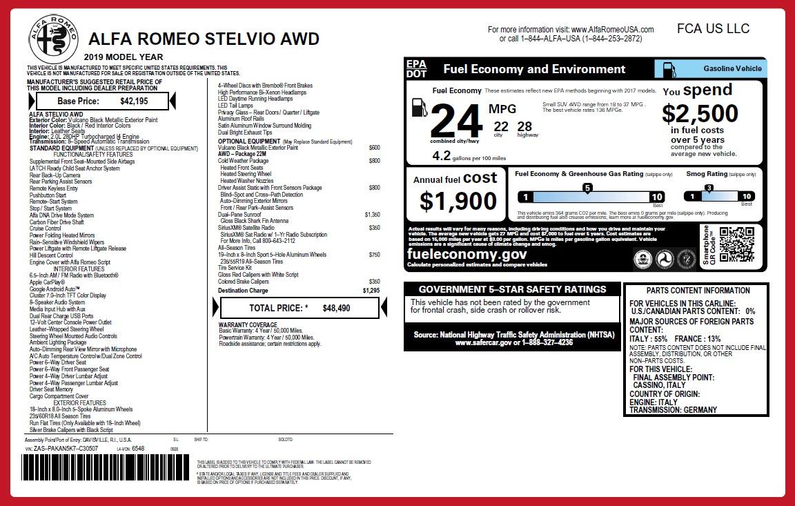 New 2019 Alfa Romeo Stelvio Q4 For Sale In Greenwich, CT 2650_p26