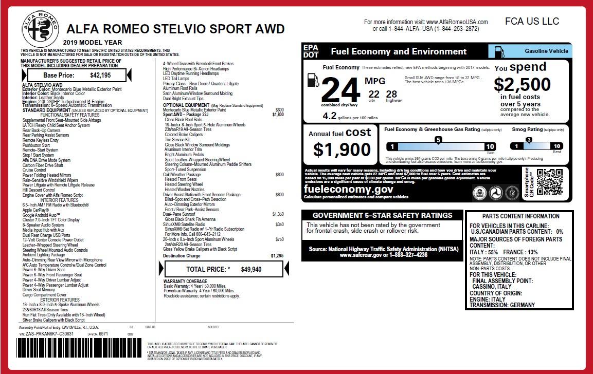 New 2019 Alfa Romeo Stelvio Q4 For Sale In Greenwich, CT 2652_p31
