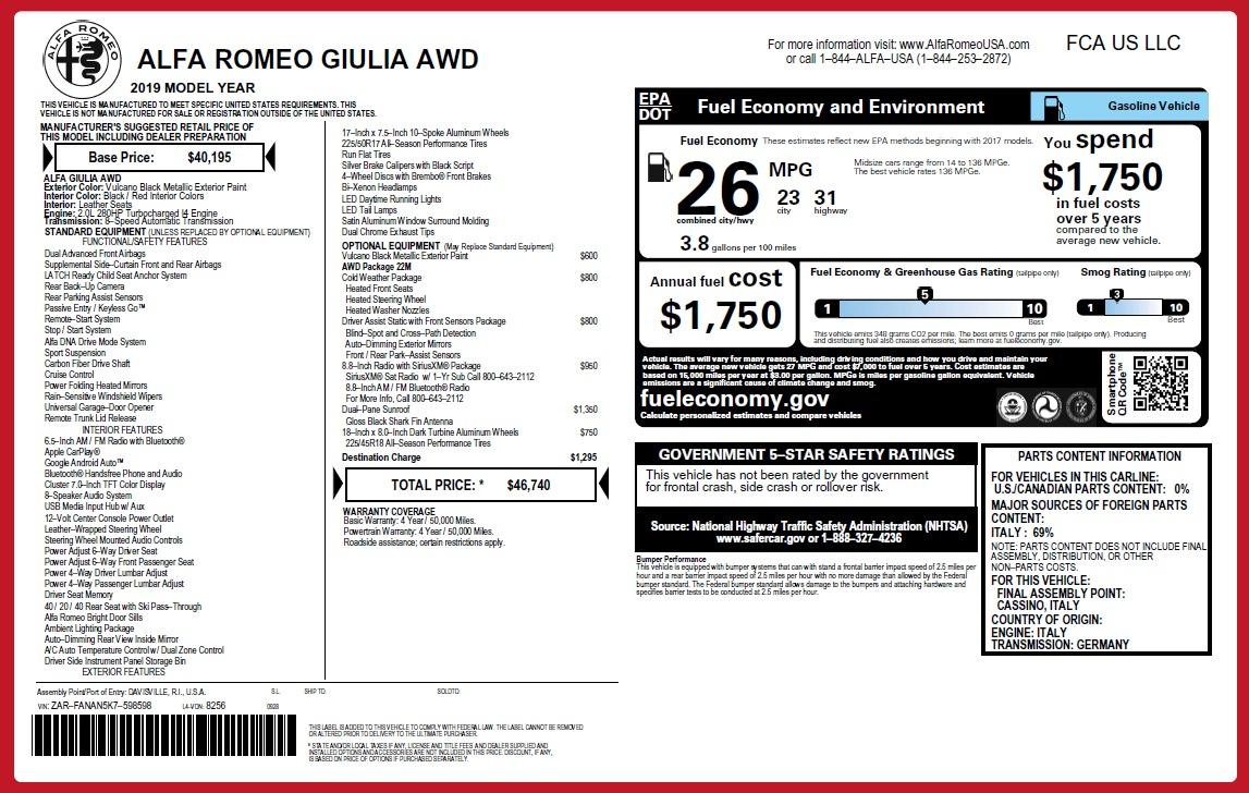 New 2019 Alfa Romeo Giulia Q4 For Sale In Greenwich, CT 2662_p27