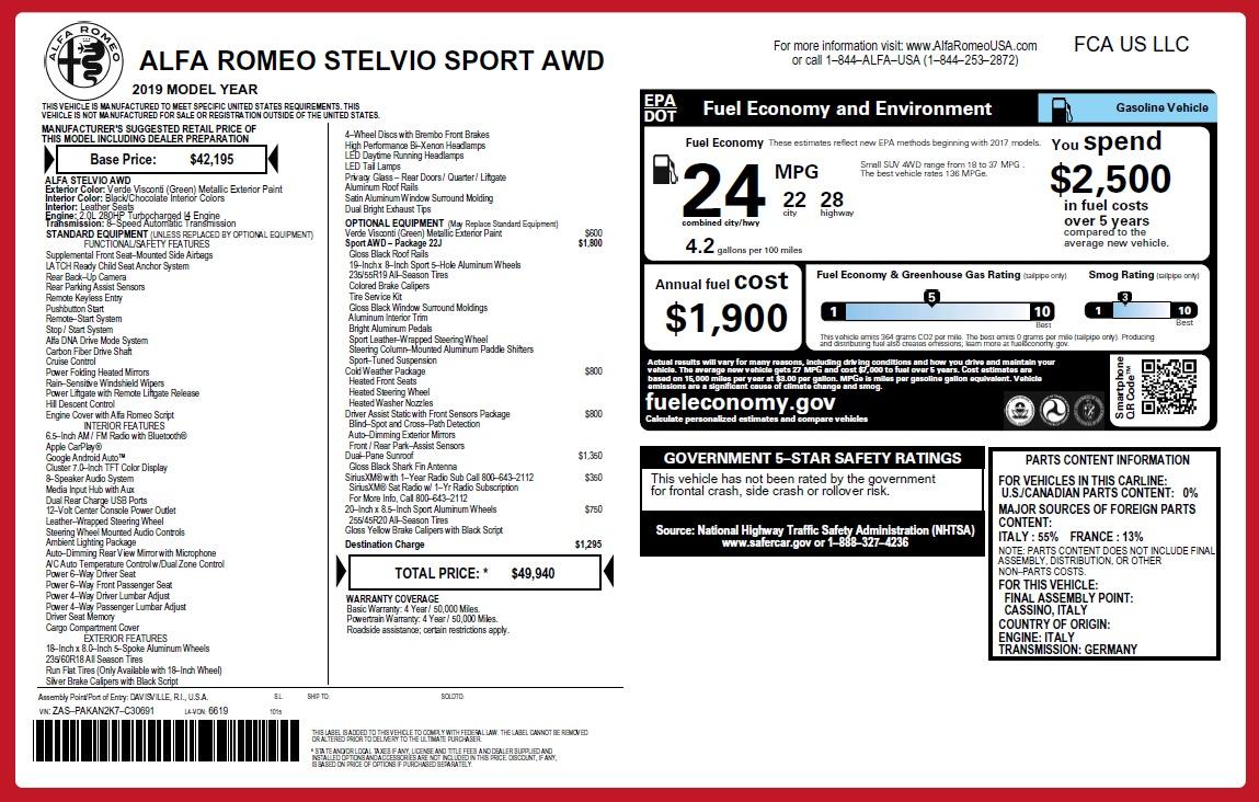 New 2019 Alfa Romeo Stelvio Sport Q4 For Sale In Greenwich, CT 2709_p21