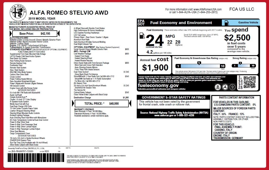 New 2019 Alfa Romeo Stelvio Q4 For Sale In Greenwich, CT 2761_p21