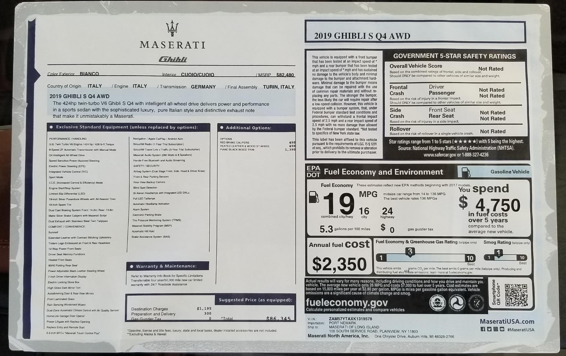 New 2019 Maserati Ghibli S Q4 For Sale In Greenwich, CT 2795_p24