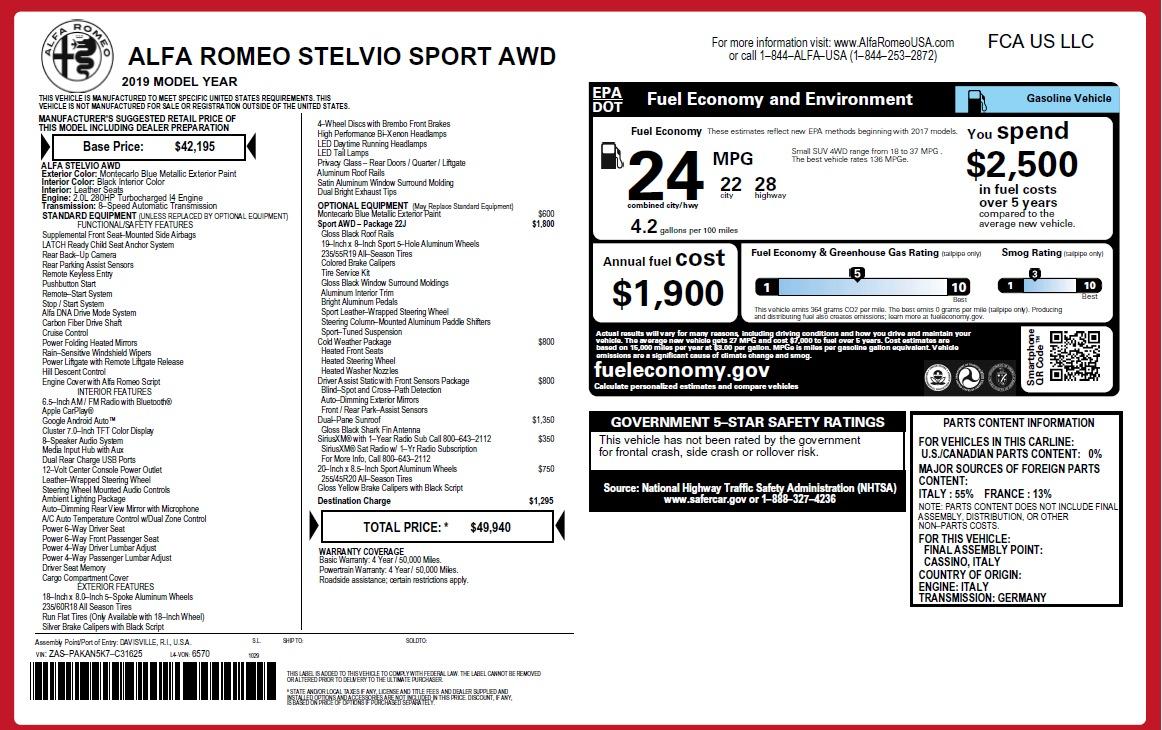 New 2019 Alfa Romeo Stelvio Sport Q4 For Sale In Greenwich, CT 2808_p2