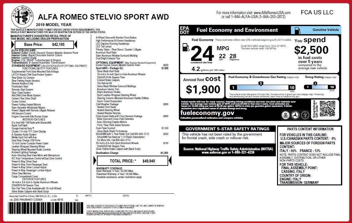 New 2019 Alfa Romeo Stelvio Sport Q4 For Sale In Greenwich, CT 2811_p27