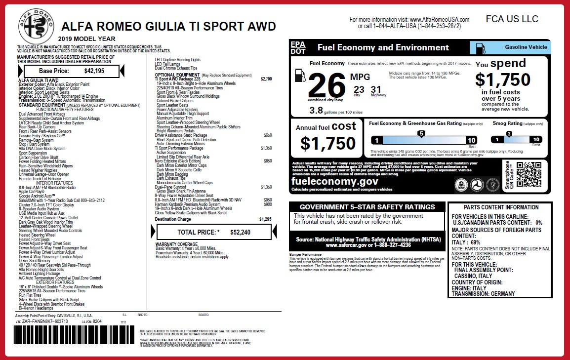 New 2019 Alfa Romeo Giulia Ti Sport Q4 For Sale In Greenwich, CT 2825_p26
