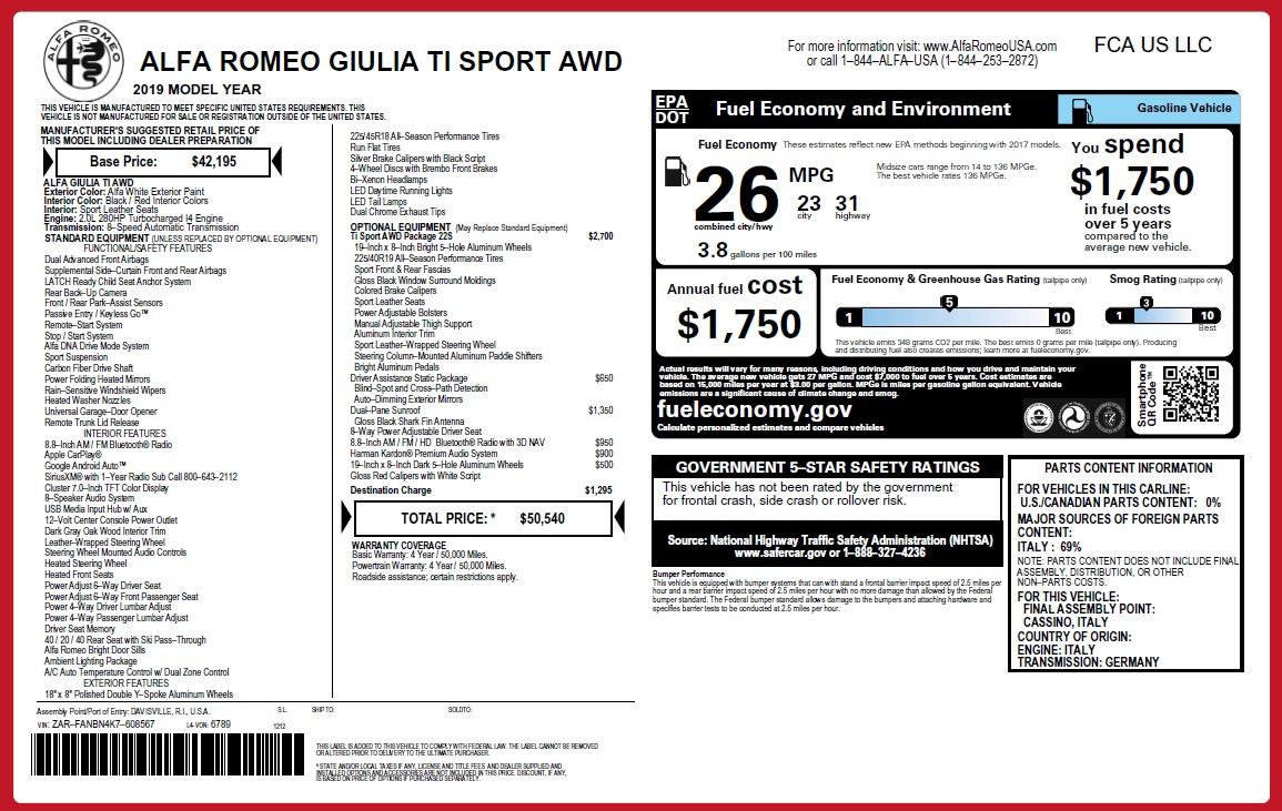 New 2019 Alfa Romeo Giulia Ti Sport Q4 For Sale In Greenwich, CT 2839_p26