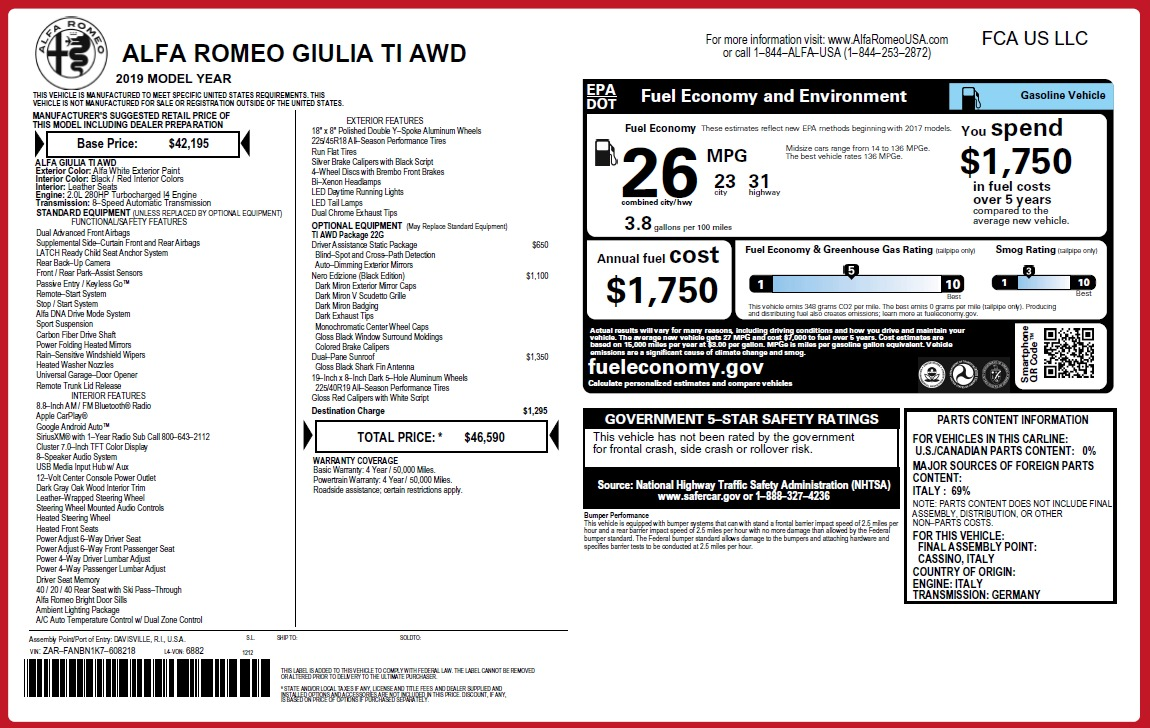 New 2019 Alfa Romeo Giulia Ti Q4 For Sale In Greenwich, CT 2856_p2