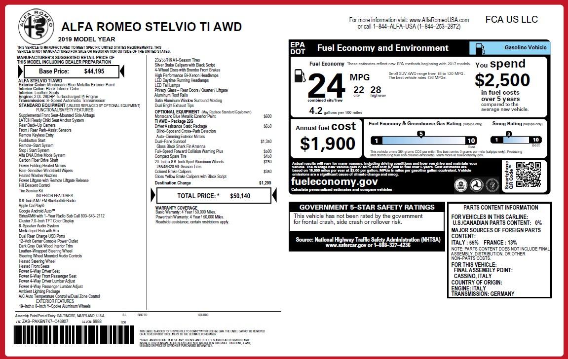 New 2019 Alfa Romeo Stelvio Ti Q4 For Sale In Greenwich, CT 2876_p26
