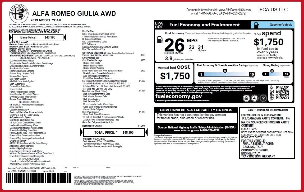 New 2019 Alfa Romeo Giulia Q4 For Sale In Greenwich, CT 2892_p26