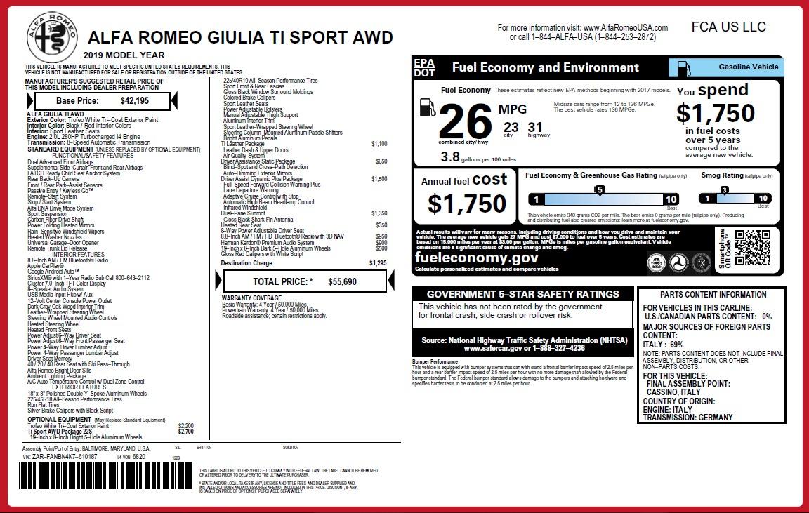 New 2019 Alfa Romeo Giulia Ti Sport Q4 For Sale In Greenwich, CT 2896_p31