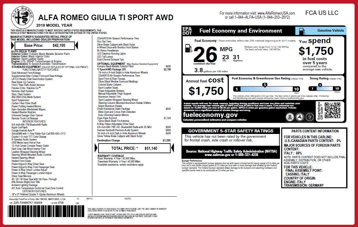 New 2019 Alfa Romeo Giulia Ti Sport Q4 For Sale In Greenwich, CT 2913_p31